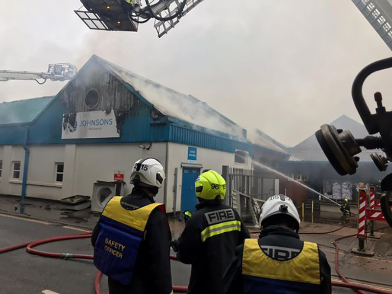 Major fire at Johnsons in Exeter