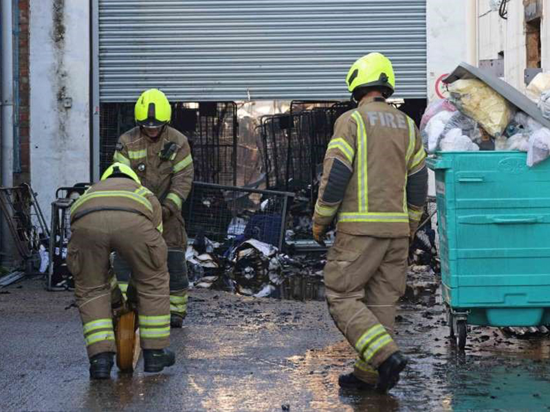 Blaze at industrial laundry unit in west London