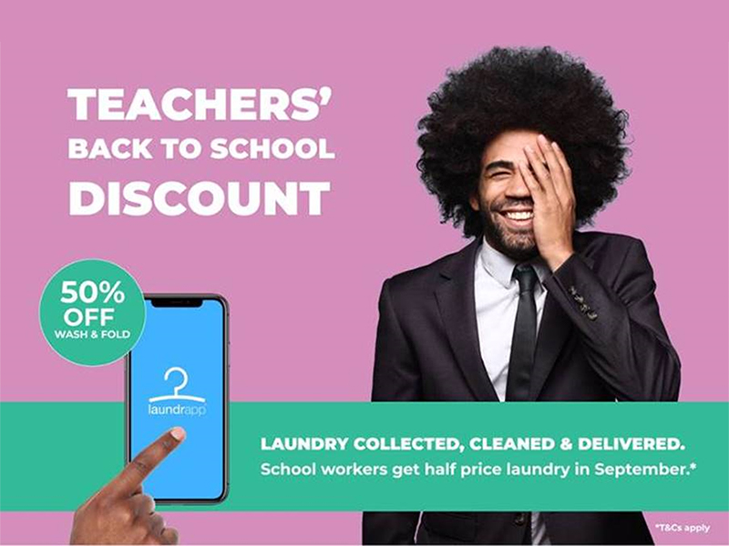 Laundrapp offers half price laundry for back-to-school teachers